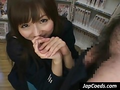 Sinfully Japanese Coed Suck A Big Dick In A Store