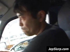 Tempting Japanese Cutie Sucking Two Pricks