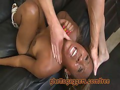 This Hung White Dude Fucks Her Ebony Throat With A Passion