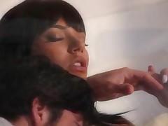 Shazia Sahari - Sexy Big Juggs Babe Shazia Sahari In White Stockings Banged Good On The Couch