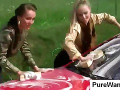 Tempting Chicks Wash Car And Get Wet