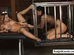 Katja Kassin And Sophia - Lesbian Slave Making Out With Katja