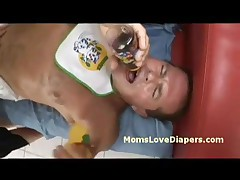 Judit - Redhead Matron Strips And Drills Diaper Boy With Strap-on