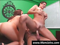 Horny Teen And Mom Riding A Thick Phallus