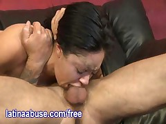 Latina Lets Two Big White Dicks Fuck Her Throat Before They Take Turns Slamming Her Pussy
