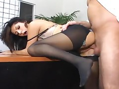 Sativa Rose - Secretary Sativa Rose In Pantyhose Fucking On Her Bosses Desk