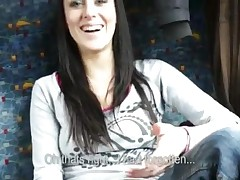 Mea Melone - Real Amateur Brunette Babe From Europe Gets Her Juicy Twat Banged In The Bus With Horny