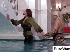 Wet Slave And Lesbian Mistress Kisses In Pool