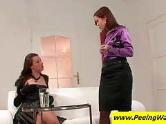 Two Superb Lesbians Licking Wet Pussies On The Couch