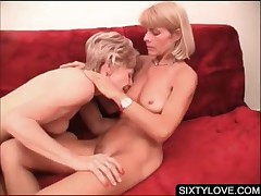 Mature Lesbian Lovers Kissing And Licking On Couch