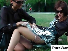 Sexy Chicks Gets Dirty With Cream In The Park