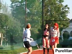 Three Horny Lesbians Gets Dirty At Tennis