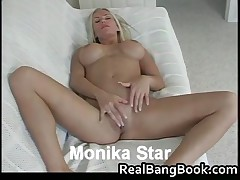 Monika Star - Busty Blond Monika Star Sucks And Have Sex With Dildo 1 By RealBangBook