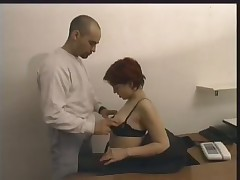 Redhead Secretary Pounded Over The Desk