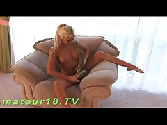 This Naughty And Very Flexible Blonde Loves To Arouse Her Naked Body With Big Snake