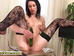 Pee Pee Teen Babe Fucking A Cucumber