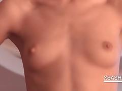Sasha - Skinny Sasha Shows Tinny Boobs In Close-up