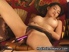 Big Boobs Asian Stunner Dildoing Hairy Cunt 8 RealAsianAmateur