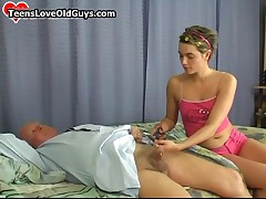 Cute Teen Girl Shaving This Grandpa His Hairy Cock And Plays With It By TeensLoveOldGuys