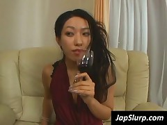 Superb Japanese Girl Suck A Big Phallus With Wine