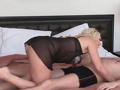 Blondie In Sexy Lingerie Licking Horny Penis