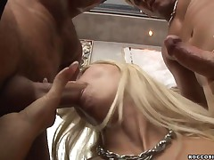 Helena G  - Blonde Chick Takes Two Big Dicks