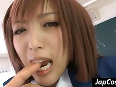 Asian Coed In Nylons Gives Oral Sex In The Classroom