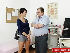 Nicoletta - This Babe Got Beautiful Natural Big Boobs And Gets Checked By Filthy Gyno Medic This Old