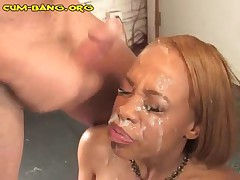 A Black Girl Gets Bukkaked From White Guys