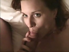 Cute girl sucks until her mouth is covered in cum