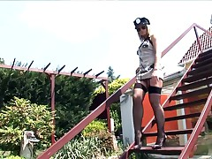 Blonde In Cops Uniform A Garter Belt And Stockings Fucking