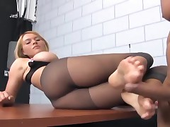 Blonde With Bigtits Footsex And Fucking In Ripped Up Nude Pantyhose
