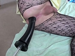 Sissy with screwing machine bangs his ass