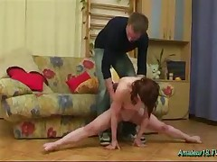 Flexible Gymnast Swallowing Big Cock And Sperm Hard