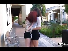 Two Stunning Lesbian Teen Babes Making Out In Public And Showing Their Body By FTVgf