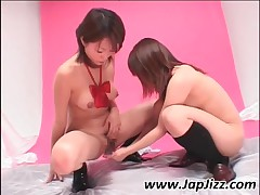 Asian Lesbian Peeing And Rubbing Hairy Snatches