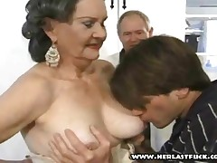 Silver Granny Fucked By Two Studs