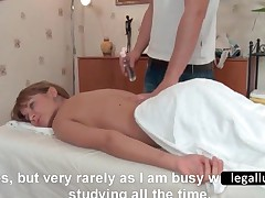 Teenage Babe Strips To Get Full Body Massage