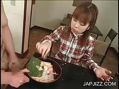 Asian Hottie Eats Food Covered In Jizz