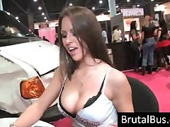 Three Awesome Bitches Showing Hot Tits In Bus