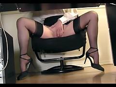 Under Desk Voyeur View Of A Secretary Masturbating In Stockings