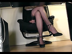 Under Desk Voyeur View Of A Secretary Masturbating In Stockings