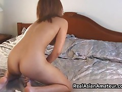 Peachy Ass Asian Amateur Forces Huge Dildo On Her Hairy Twat 5 By RealAsianAmateur