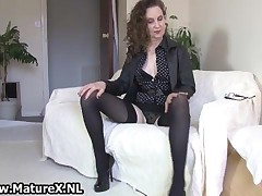 Brunette Mature Mom With Sexy Black Stockings Showing Her Long Legs By MatureX