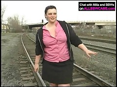 Milla - Fat Princess Gets Nude On Railway