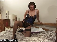 Mature Mom In Sexy Black Stockings Showing Of Her Curvy Big Ass By MatureX