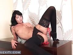 Jane - Lovely Brunette Teen Rubs Pussy