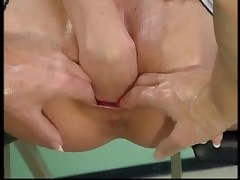 French skinny mature double fisted
