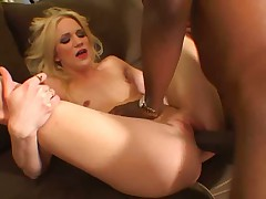 Skinny blonde slut fucked by monstercock