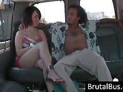 Raunchy Brunette Cutie Gives Blowjob In Bus